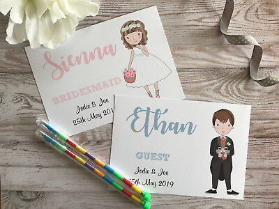 Personalised Children's Wedding Activity Pack Book Bag Gift A6 Guest Packs