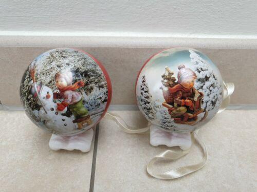 2 Stück Weihnachtskugeln Christbaumkugeln  Baumschmuck Hummel Motiv Neuwertig!!