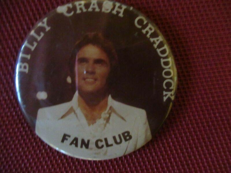"Vintage Bill Crash Craddock, ""Bill Crash Craddock Fan Club"" 3"" Pin Button"