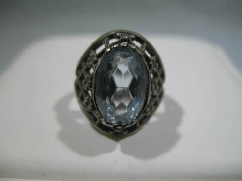 Vintage Soviet Russian 875 Silver 5g Ring Light Blue Stone Size 5-3/4 USSR