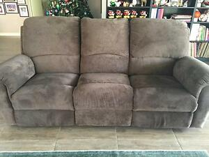 Lovely Plush Chocolate Brown Recliner 3 seater sofa Hove Holdfast Bay Preview