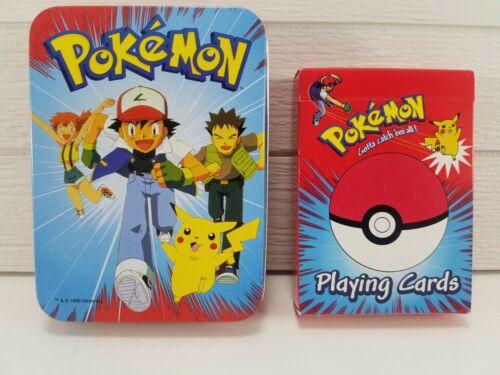 Vintage 1999 Pokemon Playing Cards - Collectible Tin Case - Nintendo Bicycle AKQ