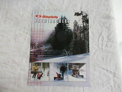 1998 Simplicity Snow Thrower Snowthrowers Brochure