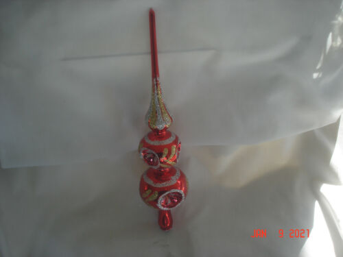 """Vtg. RED BLOWN GLASS DOUBLE GLOBE INDENTED 13"""" TREE TOPPER Gold & Silver Glitter"""