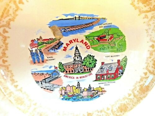 """State of Maryland 9"""" Plate Fort McHenry Naval Academy Baltimore Skyline Gold Pai"""