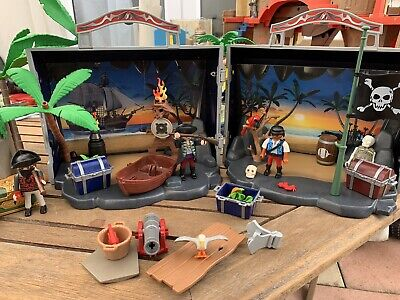 Playmobil 70150 Take Along Pirate Island+Figures+ A Whole Other Set! 2 Sets!!!!