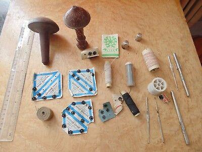 VINTAGE SEWING COLLECTABLES BOBBINS, NEEDLES, ELASTIC ETC.