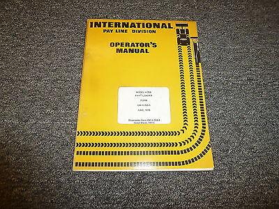 International Harvester H25b Pay Loader Wheel Loader Owner Operator Manual
