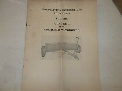 John Deere Fertilizer Grain Drill Fb-2 Predelivery Instructions