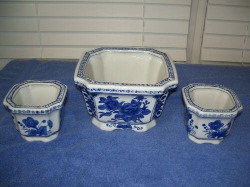 "Vintage China Blue & White Porcelain Planters / Bowls Bombay Company 3"" - 4.5"""