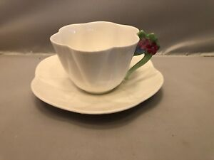 Shelley Flower Handle, White Dainty Cup and Saucer
