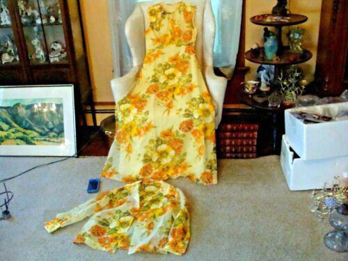 Vintage 60s Mod Floral Dress & Jacket Set Long Orange Yellow Nylon 12