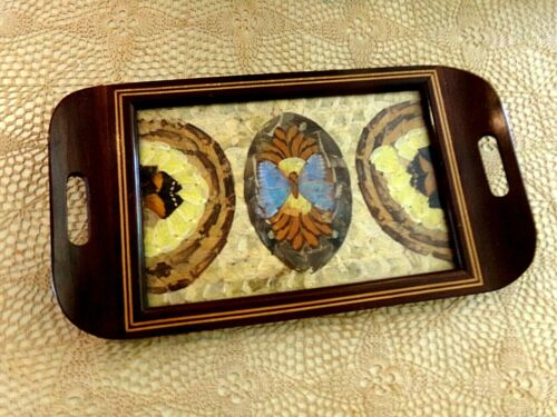 ANTIQUE BUTTERFLY WING ART WOOD TRAY 16 X 9