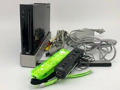 Nintendo Wii Console Bundle w/ 2 Controller Cords & OEM Sensor Bar RVL-001 Black