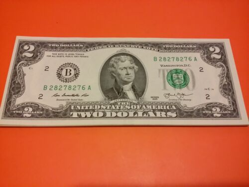 $2 TWO Dollar Bill - Uncirculated US Currency - Consecutive Serial Numbers