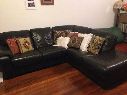 Leather modular sofa / couch / lounge with chaise Brunswick Heads Byron Area Preview