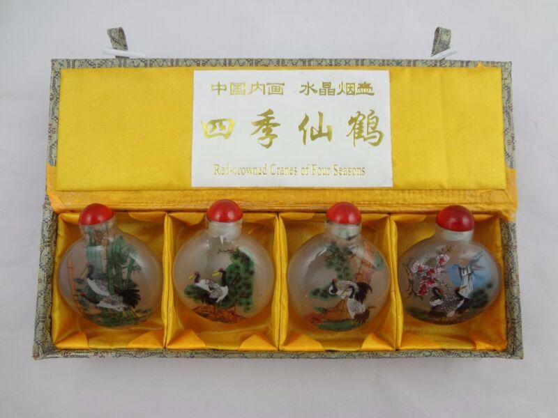 Set of 4 Reverse Painted Snuff Bottles - Original Box-Red-crowned Cranes (tsuru)
