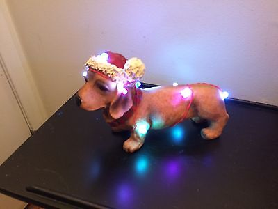 New in Box - DACHSHUND CHRISTMAS LIGHTS STATUE w Lights that Glow -Figurine