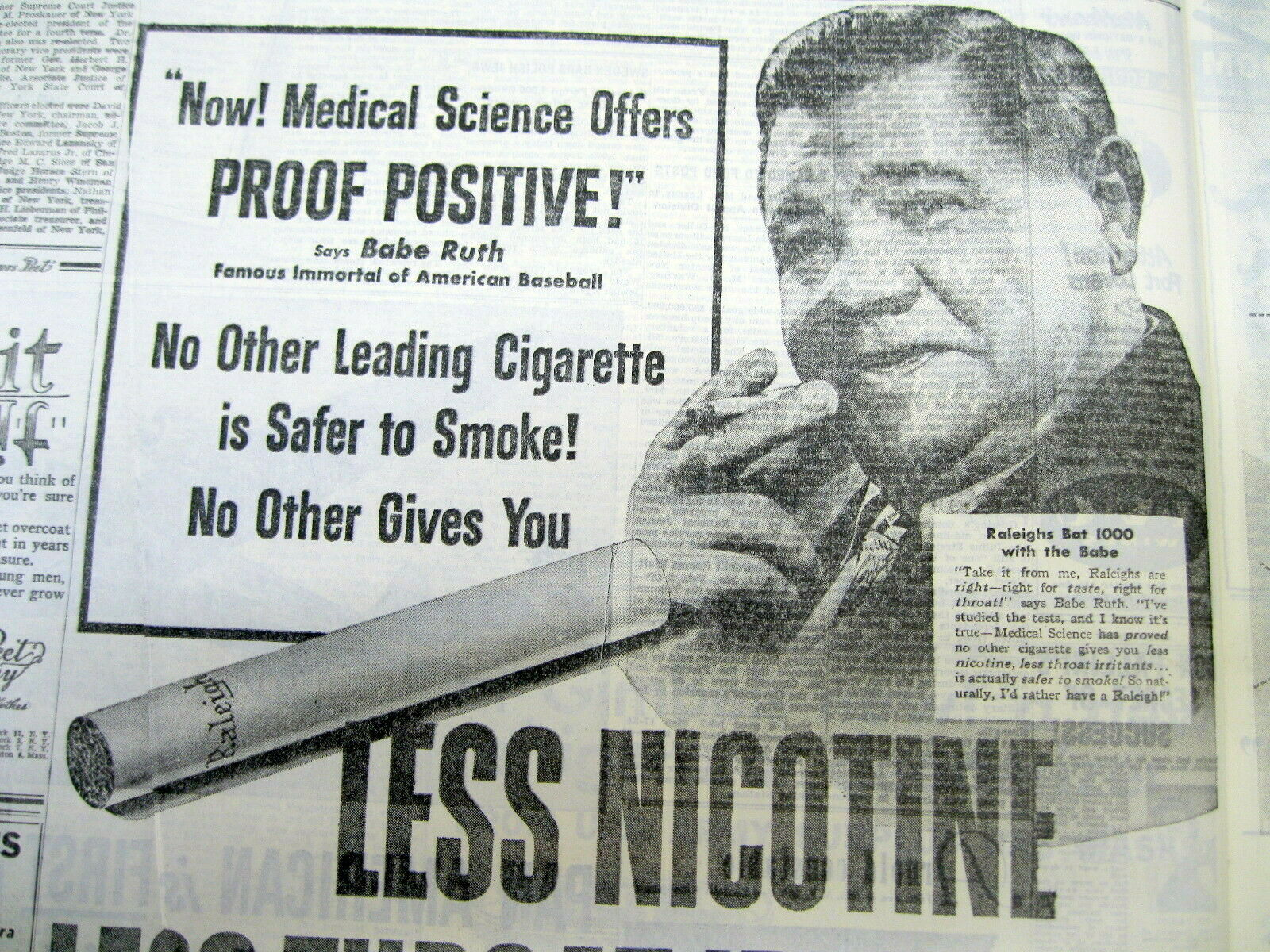 1946 ny times newspaper babe ruth raleigh cigarettes ad b4 his cancer diagnosis