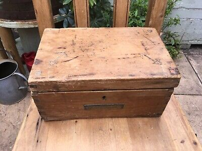 Vintage pine box chest storage anchor dovetail joints