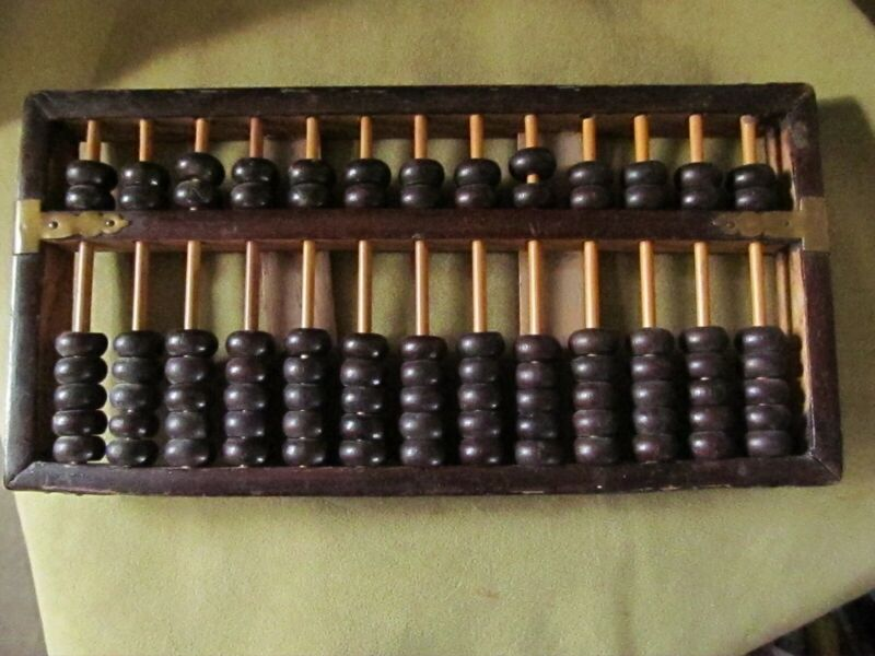 """Vintage Wooden Abacus with Brass Hardware 13 Rows 91 Beads. Length: 9 5/8"""""""