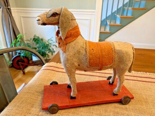 "Antique Putz Donkey Pull Toy Germany Active Squeaker On Wheels Stick Leg 8 1/2"""