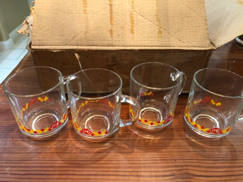 Lot of 4 1980s Vintage Dairy Queen Coffee Mugs New Old Stock Glass Dilly Bar DQ