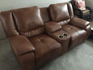 Beautiful double recliner with stainless steel cup holders