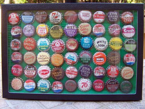 Lot of 54 Vintage Soda Bottle Caps Complete with Display Case – Estate Find