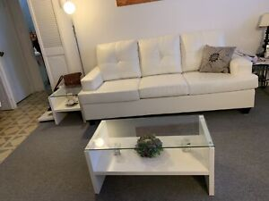 Sofa set white leather with coffee tables set