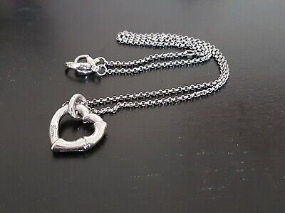 Genuine Gucci Sterling Silver Rhodium Plated Bamboo Heart Necklace