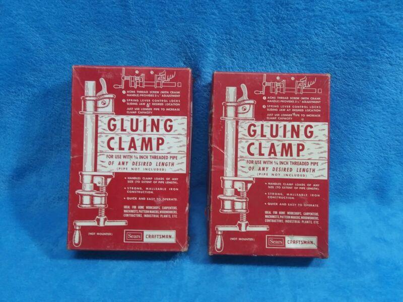 "2 Vintage Gluing Clamps 2 Sears Roebuck Craftsman 3/4""  Model 6674 / in box"