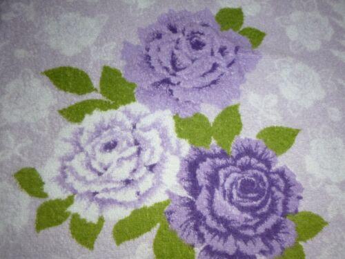 Vtg Cannon Bath Towel Purple & Lilac Printed Roses 23 x 38