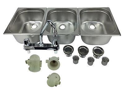 Large 3 Compartment Sink Set For Portable Concession Sinks W Faucet Drain Traps
