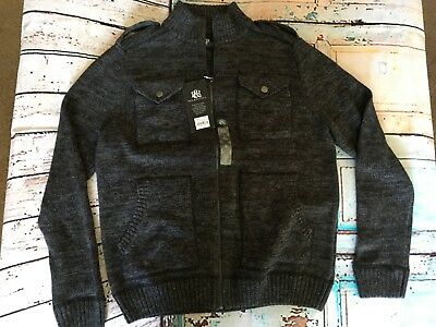 Men's Rock & Republic NEW Size Large Zip Up Sweater Gray Charcoal Black Pockets
