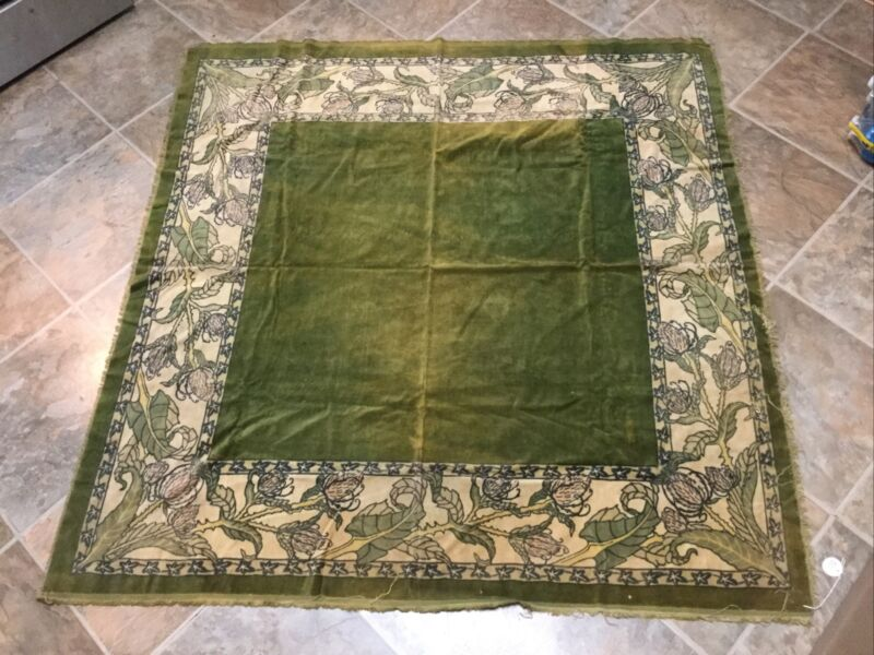Antique Victorian Hand Painted Velvet Tablecloth - Rosenbach Museum Collection