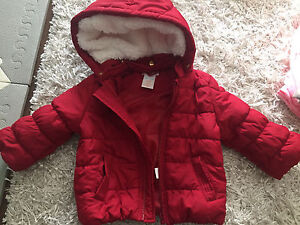 Girls down jacket with removable hood 6-12m