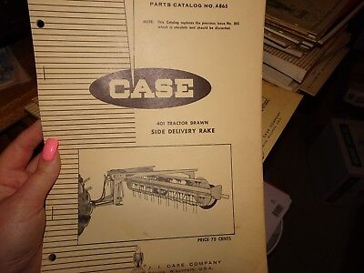 Case 401 Tractor Drawn Side Delivery Rake Parts Manual Catalog A865 1968