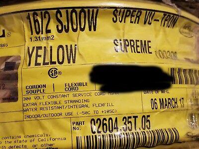 Carol 02604 162c Super Vu-tron Supreme Yellow Sjoow 300v Power Cable Cord 50ft