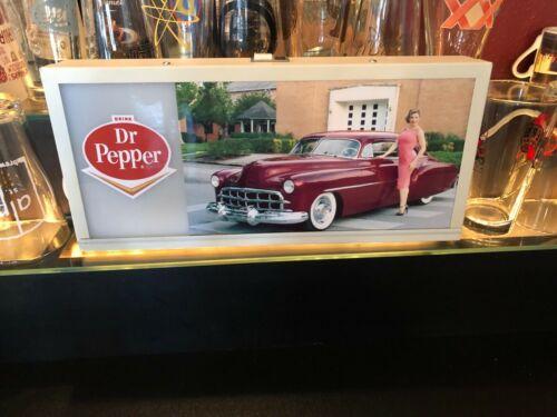 SODA POP AMERICANA Retro Style Dr. Pepper Pretty Woman & Car Lighted Sign WORKS!