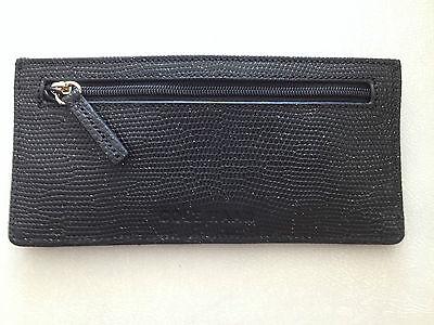 Cole Haan Black Card Case Leather Wallet 6 Credit Card   Id Holder Zip Pocket Ne
