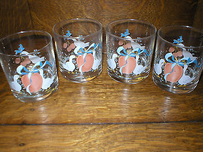 New Set of 4 Vintage International China Geese Drinking Glasses