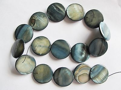 """Mother of pearl shell MOP grey 25mm flat round coin beads 15"""""""