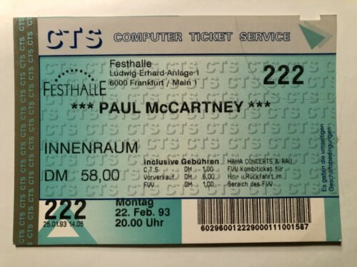 PAUL McCARTNEY Beatles Ticket Stub Frankfurt Germany 1993 February 22nd, unused