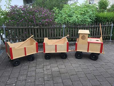 Bollerwagen - Lok mit 2 Waggon's (Eisenbahn / Zug / Deko / Rarität)