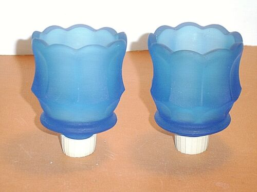 Pair of Blue Satin Glass Tulip Peg Votive Candle Holder Cups