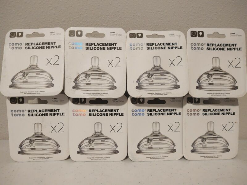 Lot of 8 ComoTomo Replacement Silicone Nipple 2 Packs 0-3mo Slow Flow *NEW*