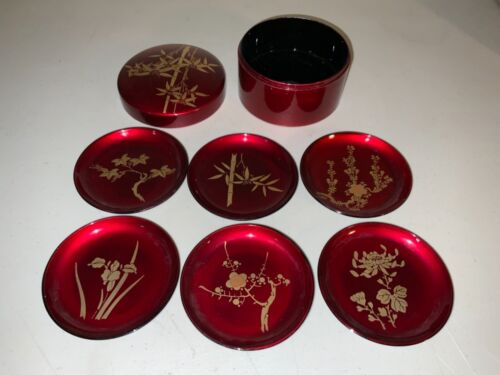 Red Lacquer Coasters set of 6 | Asian | Vintage