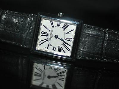 New Ladies Frederique Constant Carree 202RW1C6 Silver Dial Black Leather Watch