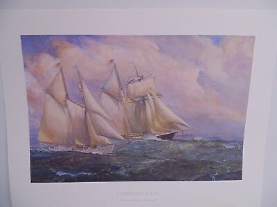 JAMES MITCHELL COLOR PRINT MARTHA'S VINEYARD RACE SCHOONERS ALABAMA & SHENANDOAH